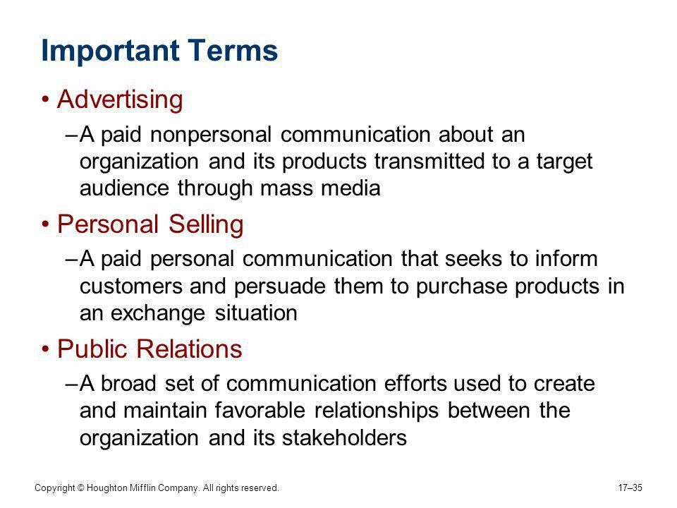 Important Terms Advertising Personal Selling Public Relations