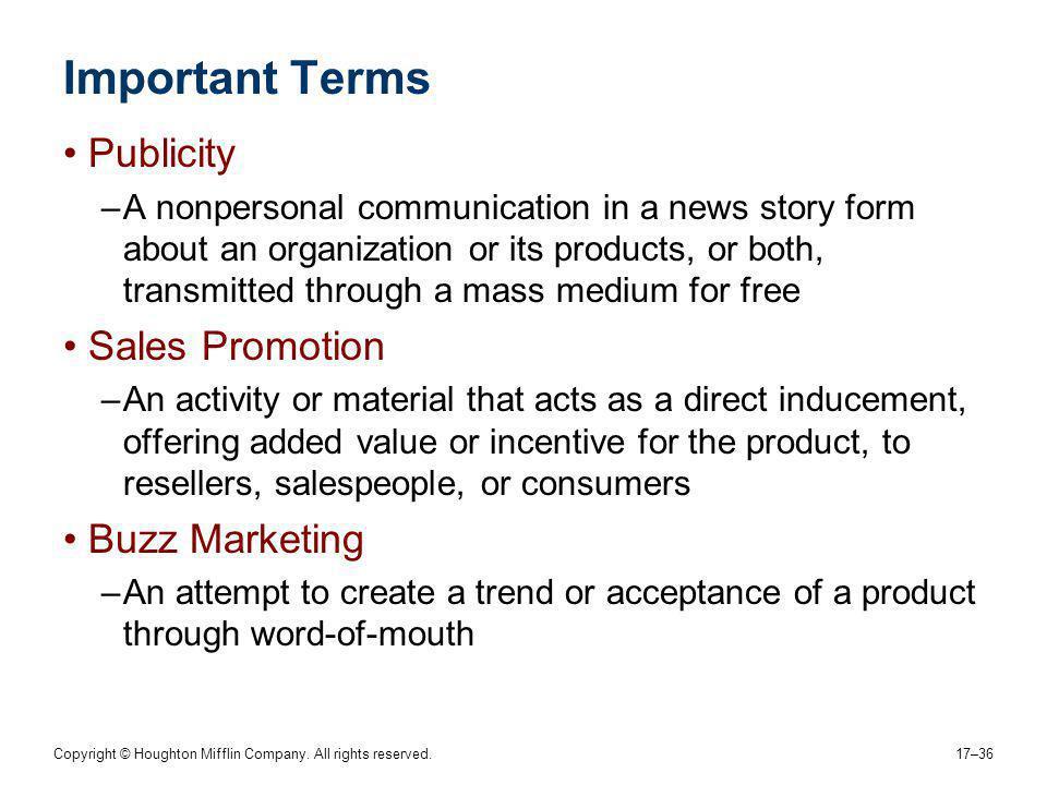 Important Terms Publicity Sales Promotion Buzz Marketing