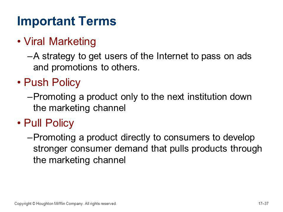 Important Terms Viral Marketing Push Policy Pull Policy