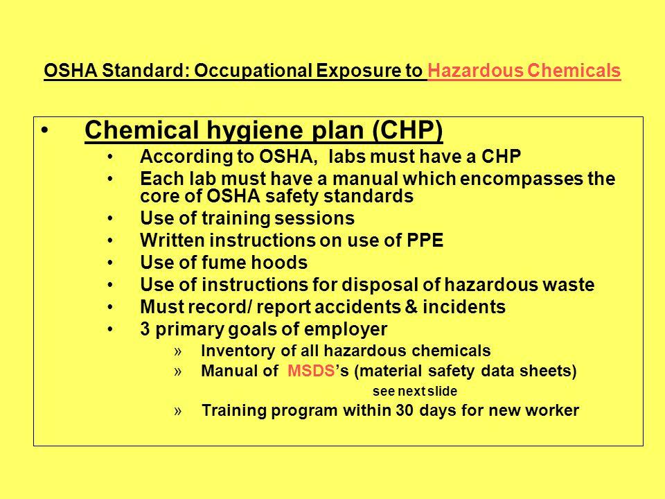 OSHA Standard: Occupational Exposure to Hazardous Chemicals