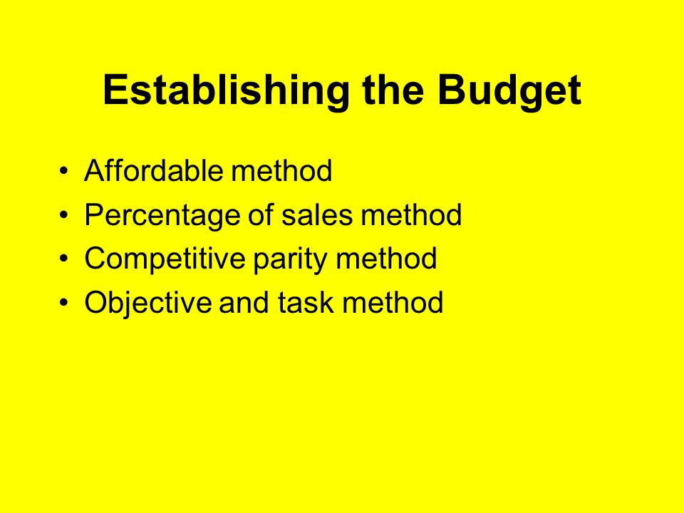 Establishing the Budget