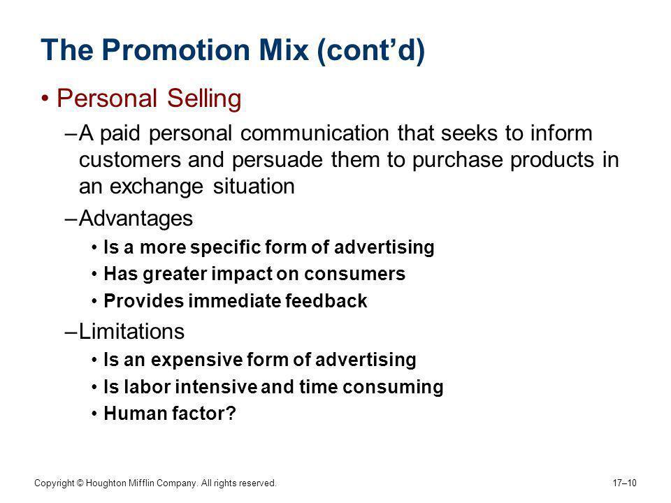 The Promotion Mix (cont'd)