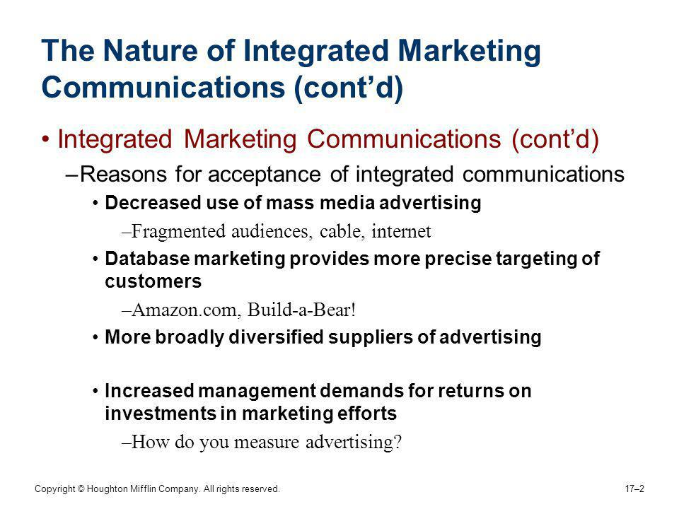 The Nature of Integrated Marketing Communications (cont'd)