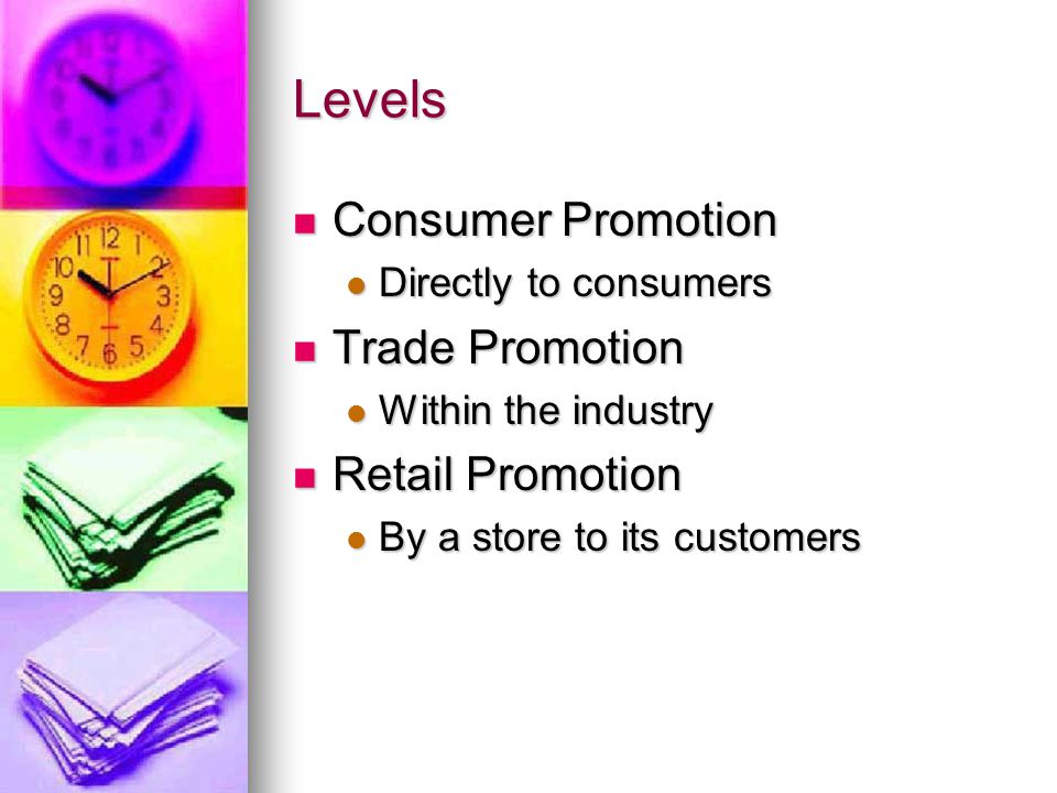 Levels Consumer Promotion Trade Promotion Retail Promotion