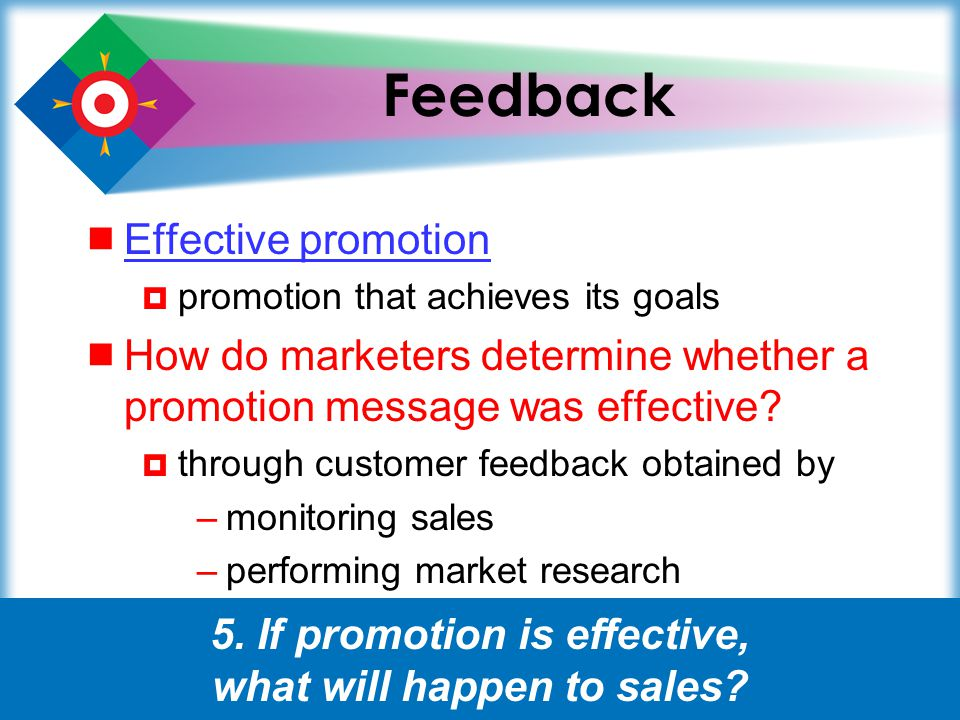 5. If promotion is effective, what will happen to sales
