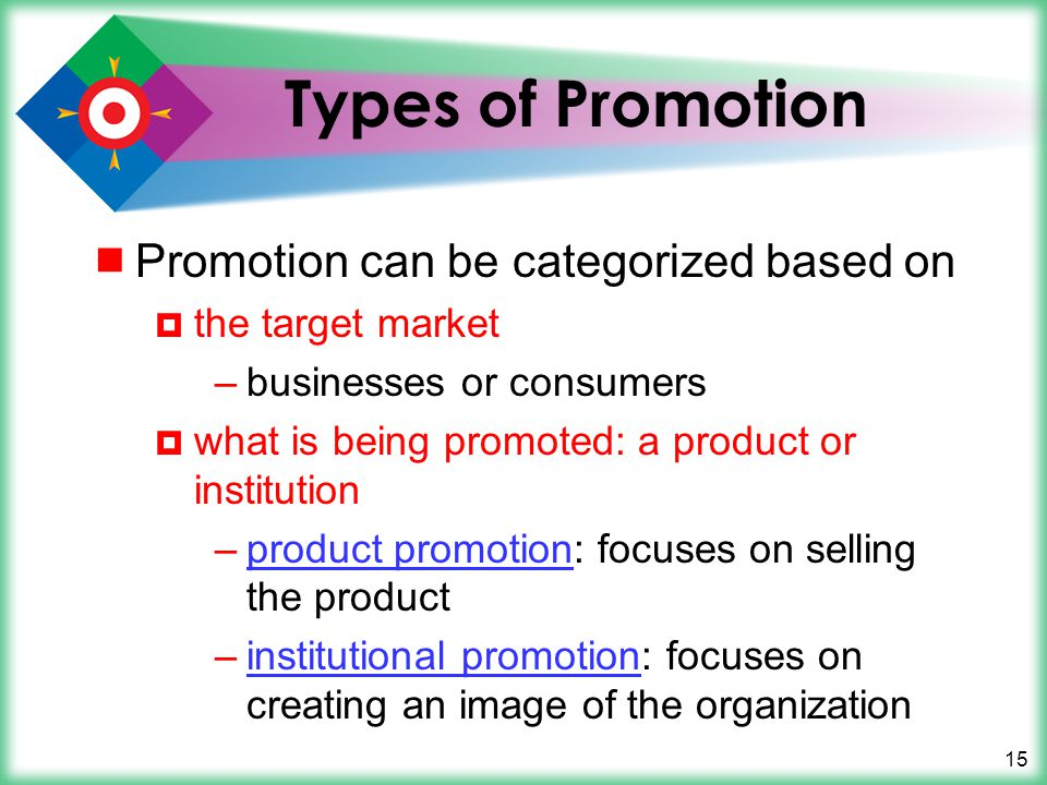 Types of Promotion Promotion can be categorized based on