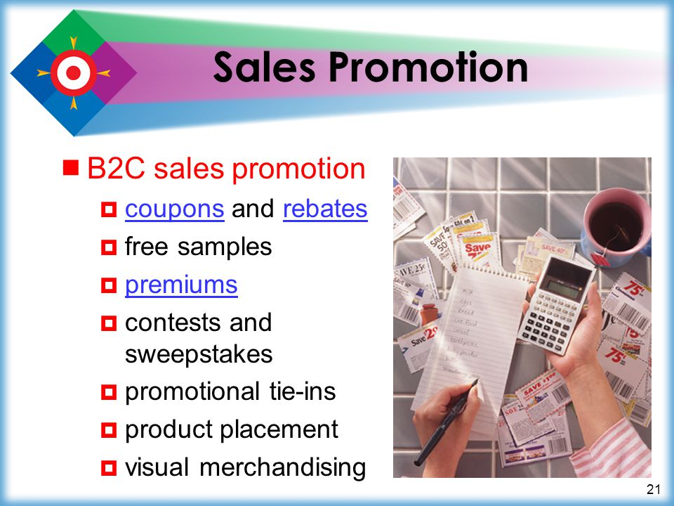 Sales Promotion B2C sales promotion coupons and rebates free samples