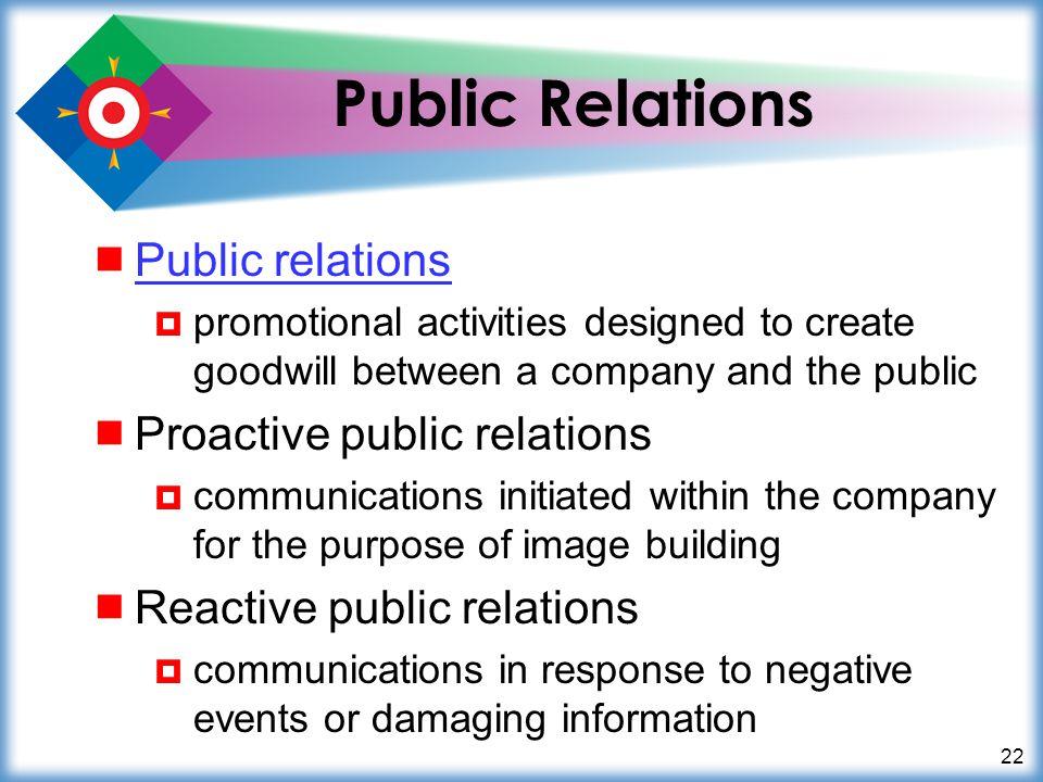Public Relations Public relations Proactive public relations