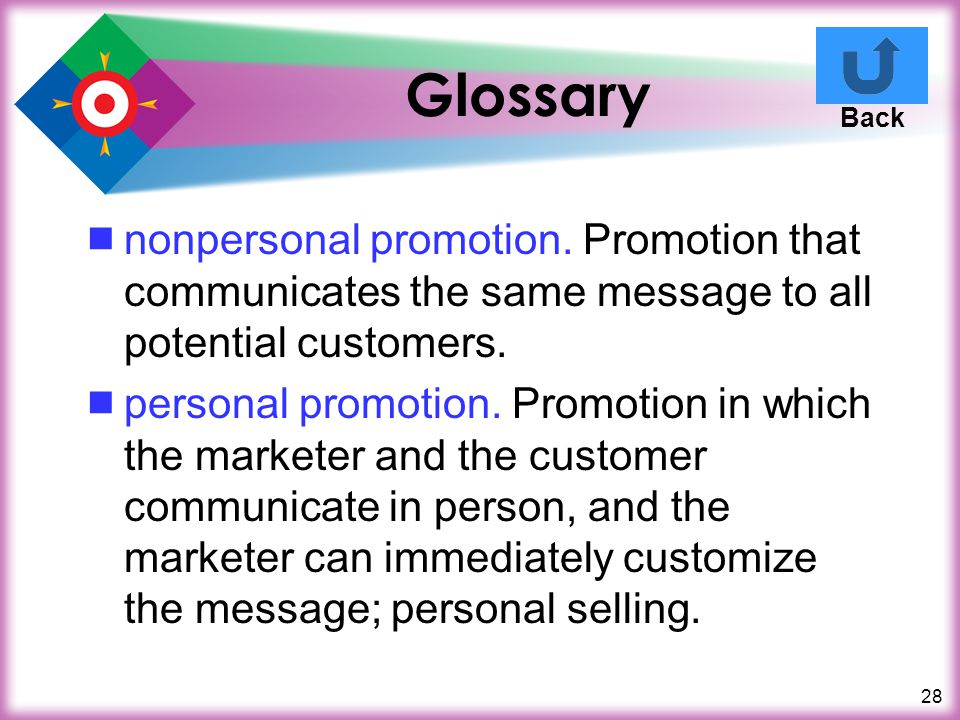 Glossary Back. nonpersonal promotion. Promotion that communicates the same message to all potential customers.