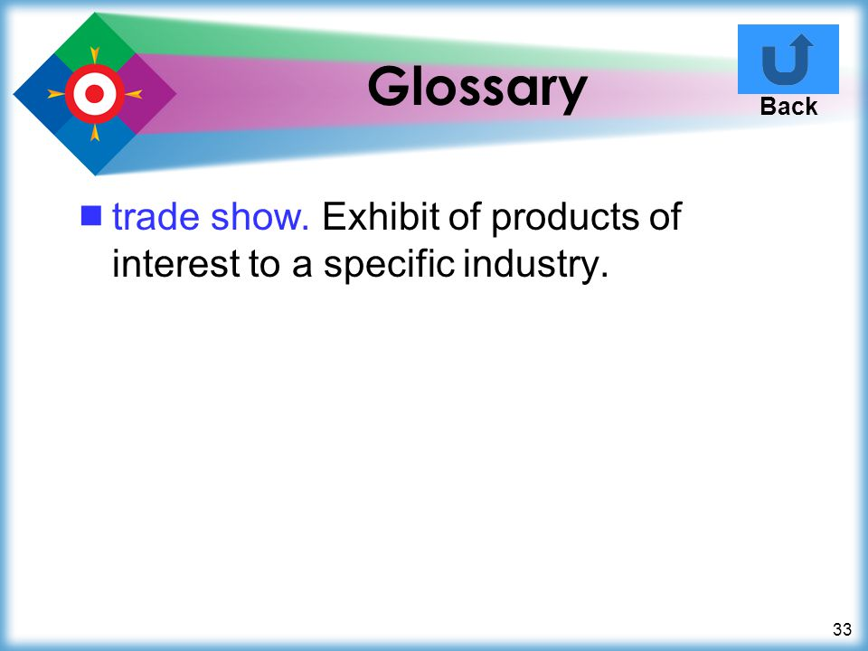 Glossary Back trade show. Exhibit of products of interest to a specific industry.