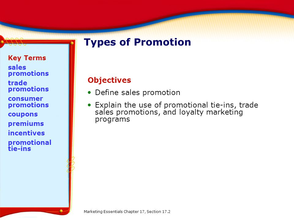Types of Promotion Objectives Define sales promotion