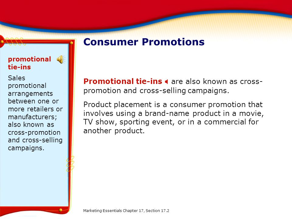 Consumer Promotions promotional tie-ins.