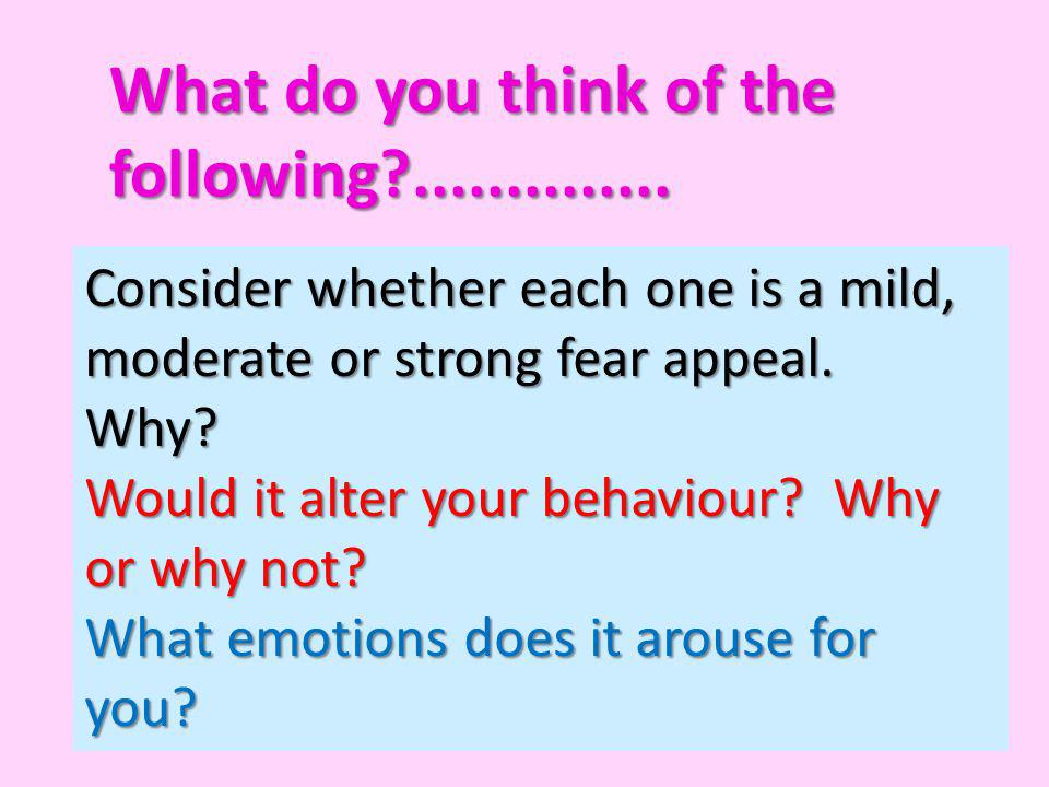 What do you think of the following ..............