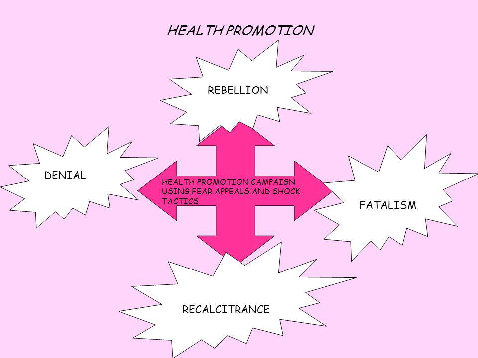 HEALTH PROMOTION REBELLION DENIAL FATALISM RECALCITRANCE