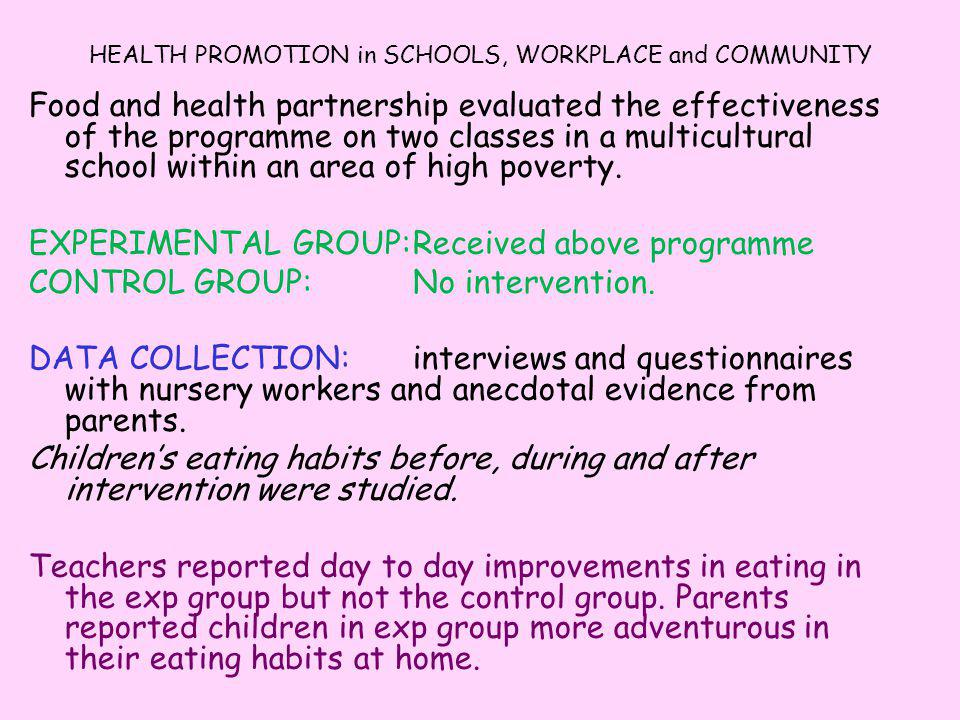 HEALTH PROMOTION in SCHOOLS, WORKPLACE and COMMUNITY