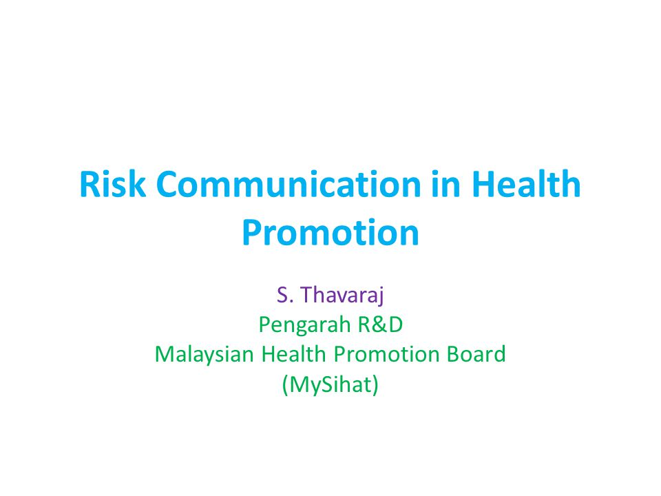 Risk Communication in Health Promotion