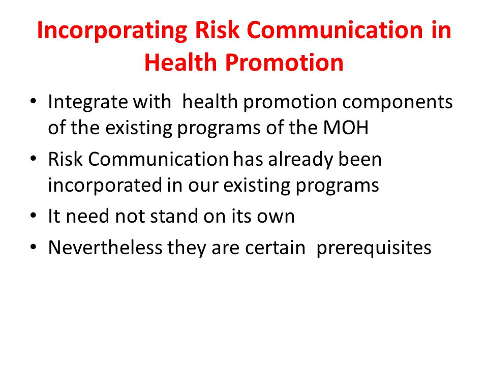 Incorporating Risk Communication in Health Promotion