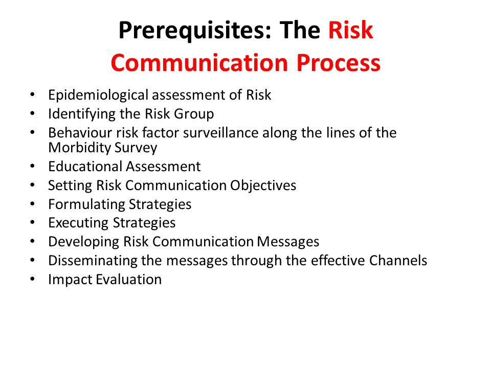 Prerequisites: The Risk Communication Process