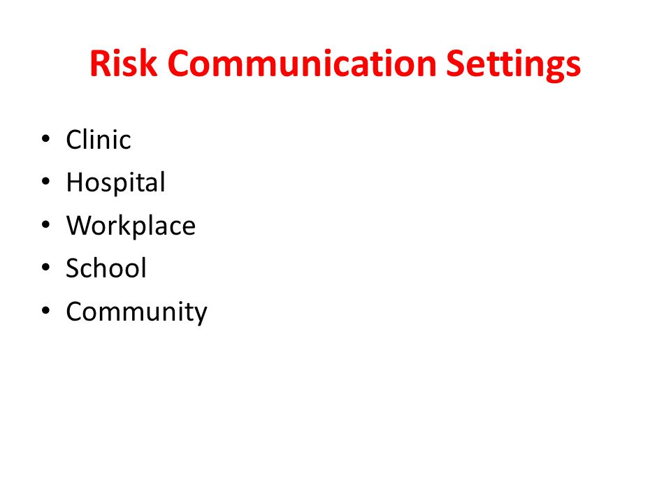Risk Communication Settings
