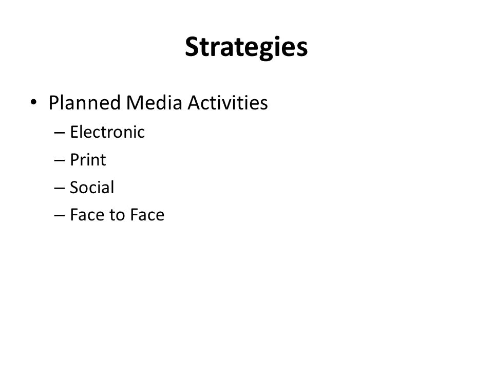 Strategies Planned Media Activities Electronic Print Social