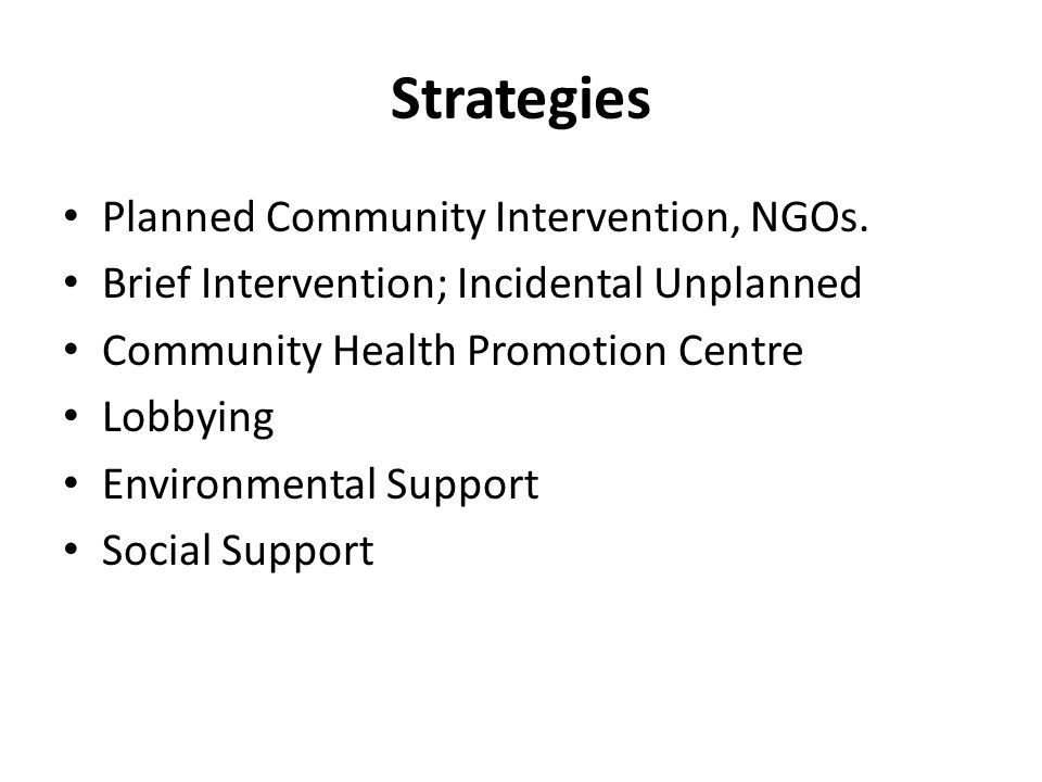 Strategies Planned Community Intervention, NGOs.