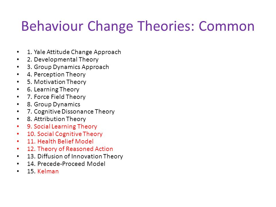 Behaviour Change Theories: Common