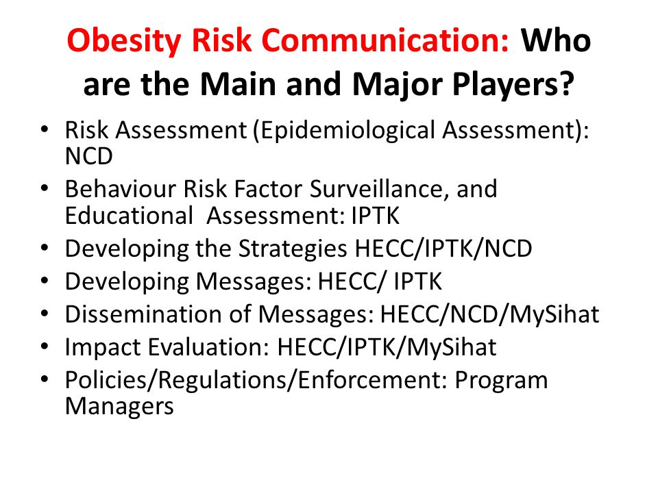 Obesity Risk Communication: Who are the Main and Major Players