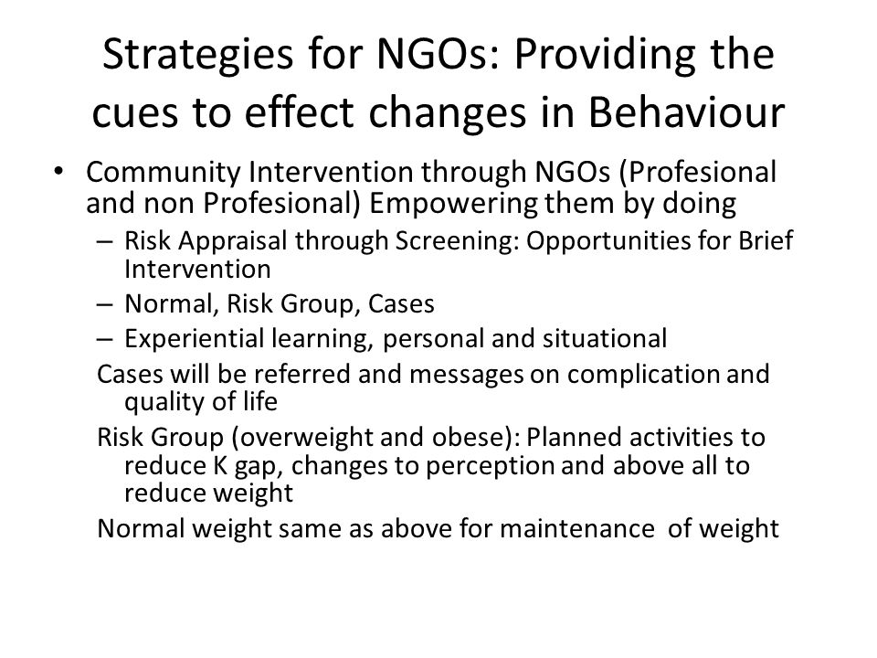 Strategies for NGOs: Providing the cues to effect changes in Behaviour