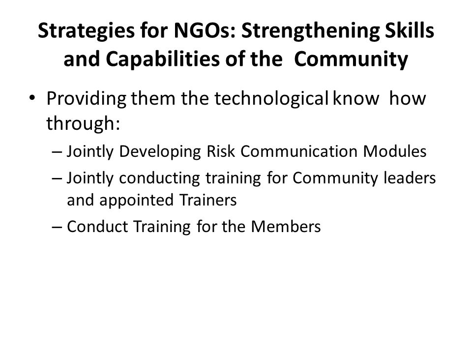 Strategies for NGOs: Strengthening Skills and Capabilities of the Community