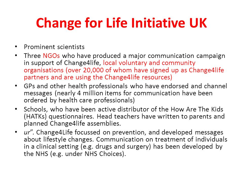 Change for Life Initiative UK