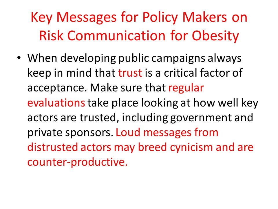 Key Messages for Policy Makers on Risk Communication for Obesity
