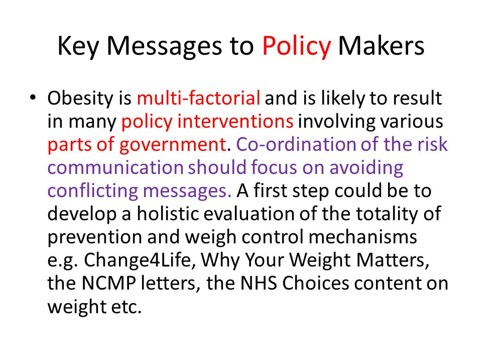 Key Messages to Policy Makers