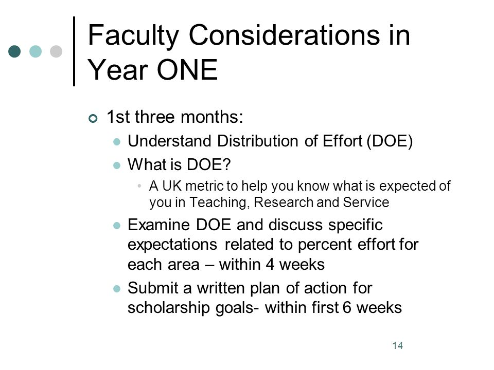 Faculty Considerations in Year ONE