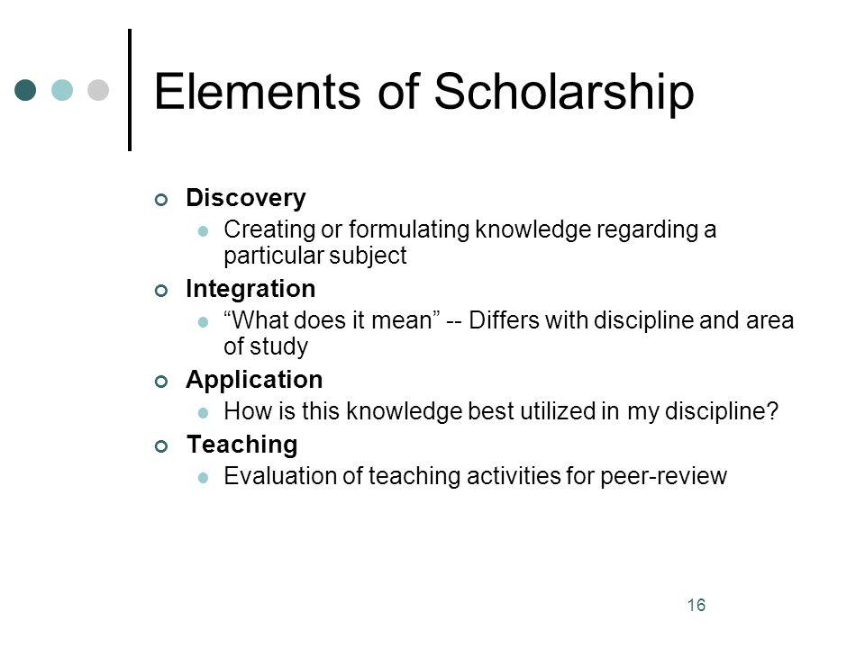 Elements of Scholarship