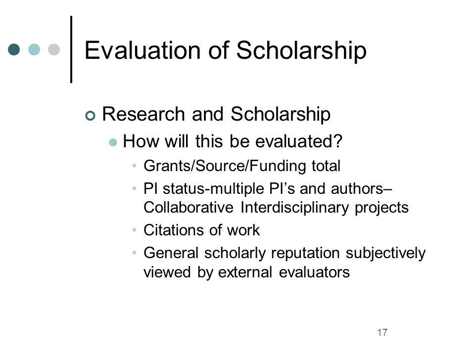 Evaluation of Scholarship