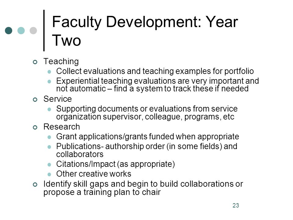 Faculty Development: Year Two