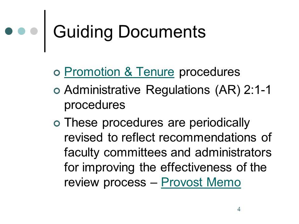 Guiding Documents Promotion & Tenure procedures