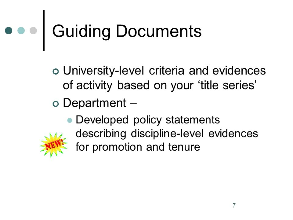Guiding Documents University-level criteria and evidences of activity based on your 'title series' Department –