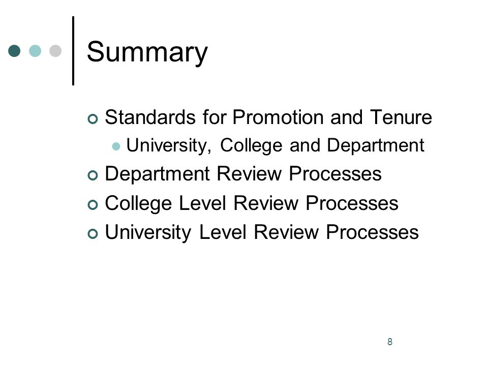 Summary Standards for Promotion and Tenure Department Review Processes