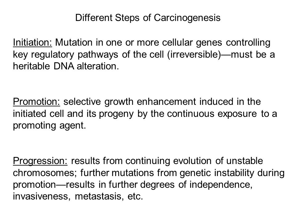 Different Steps of Carcinogenesis