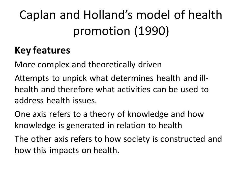 Caplan and Holland's model of health promotion (1990)