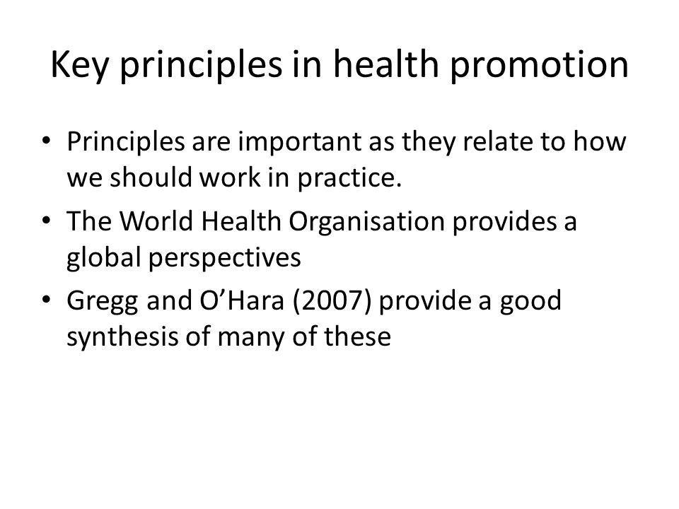 Key principles in health promotion