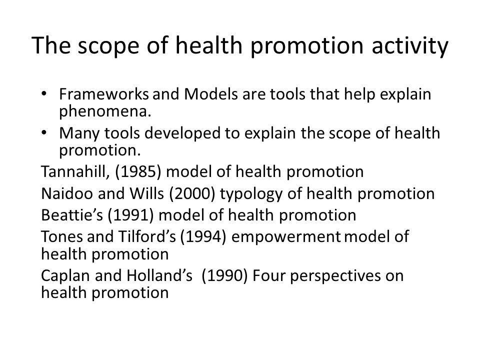 The scope of health promotion activity