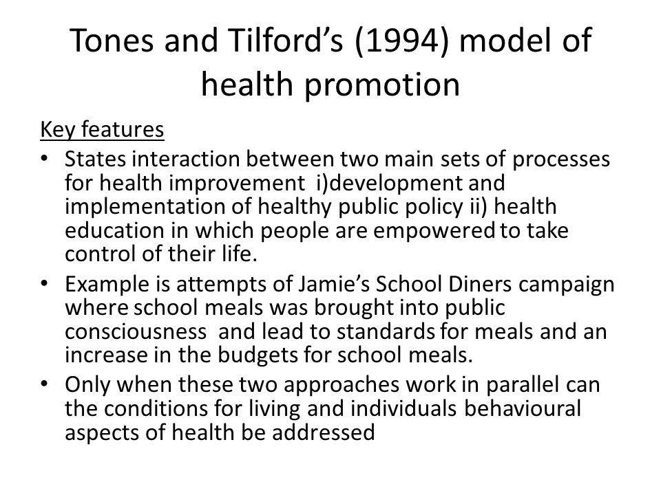 Tones and Tilford's (1994) model of health promotion