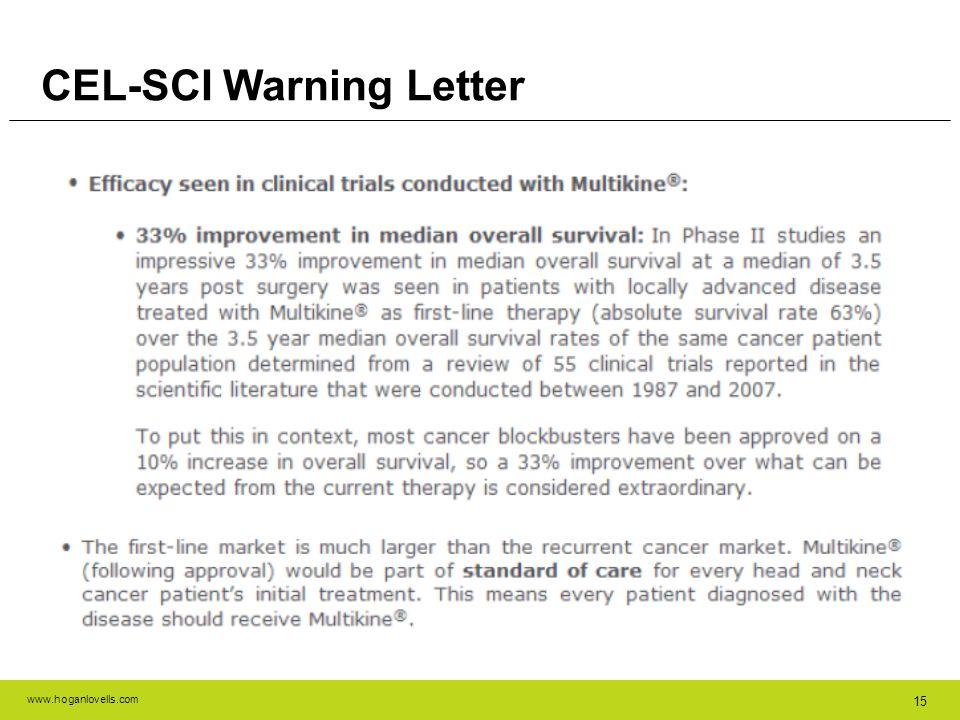 CEL-SCI Warning Letter