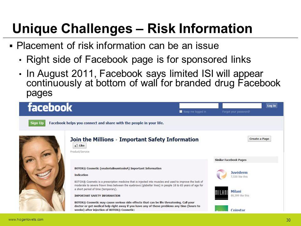Unique Challenges – Risk Information