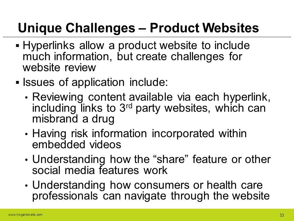Unique Challenges – Product Websites