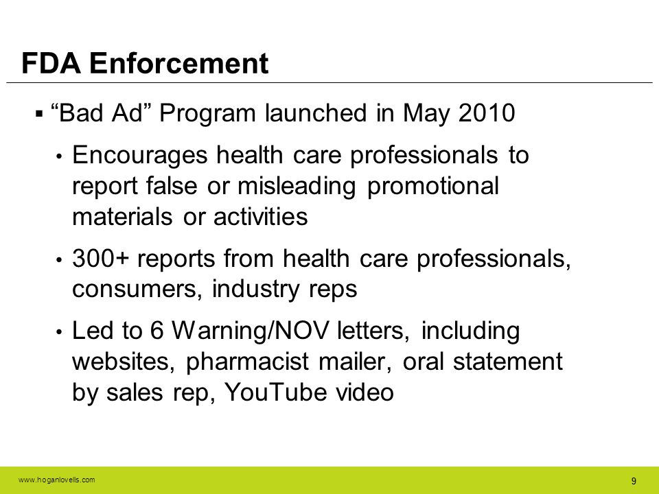 FDA Enforcement Bad Ad Program launched in May 2010