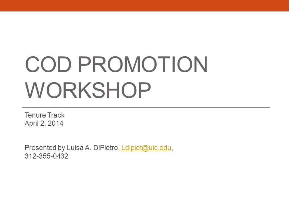 COD Promotion Workshop