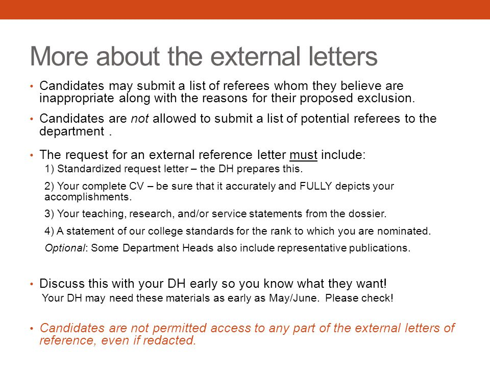 More about the external letters